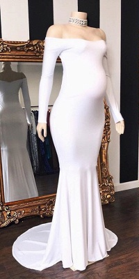 Off-The-Shoulder Pregnant Mermaid Long-Sleeves Prom Dresses_2