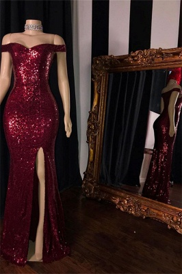 Sequins Side-Slit Mermaid Burgundy Prom Dresses Off-The-Shoulder_2