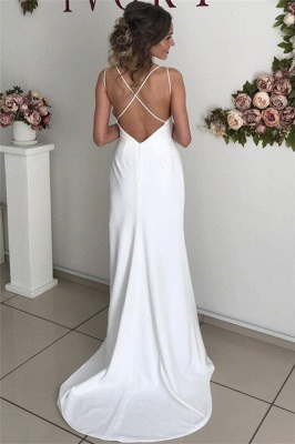 Sexy Spaghetti-Straps Side-Slit Backless Simple Prom Dresses_2