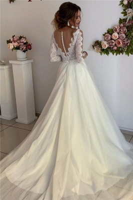 A-Line Lace V-Neck Long Sleeves Prom Dresses_2
