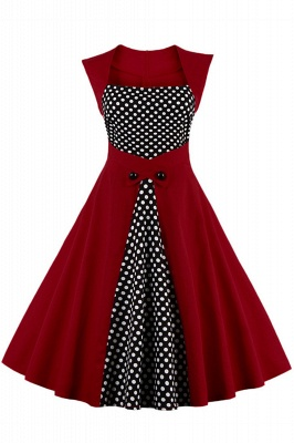 Amazing Polk-Dot Scoop Sleeveless A-line Pleats Fashion Dresses | Knee-Length Women's Dresses_2