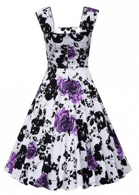 Fascinating Square A-line Knee-Length Floral Dresses | Cap-Sleeves Women's Dresses_7