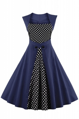 Amazing Polk-Dot Scoop Sleeveless A-line Pleats Fashion Dresses | Knee-Length Women's Dresses_3