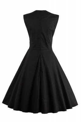 Amazing Polk-Dot Scoop Sleeveless A-line Pleats Fashion Dresses | Knee-Length Women's Dresses_6