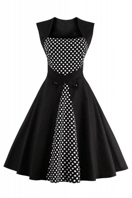 Amazing Polk-Dot Scoop Sleeveless A-line Pleats Fashion Dresses | Knee-Length Women's Dresses