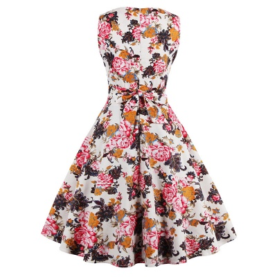 Glorious Jewel Sleeveless A-line Fashion Belted Dresses | Floral Knee-Length Women's Dress_10