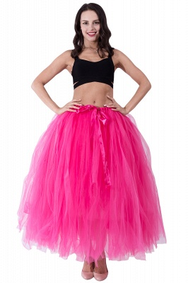 Fascinating Tulle Floor-Length Ball-Gown Skirts | Elastic Women's Skirts_6