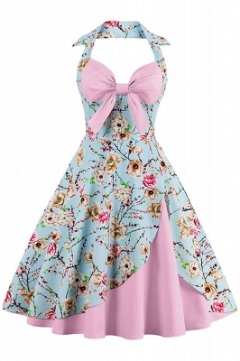 Brilliant Halter Sexy Flowers Fashion Dresses | Bow Women's Dresses_3