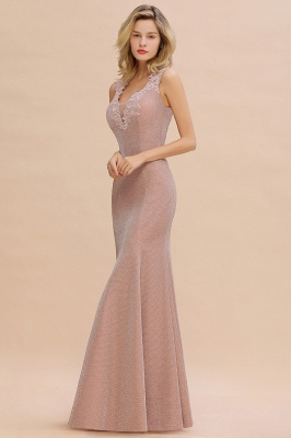 Sparkly Deep V-neck Long Evening Dresses | Elegant Flowers Neck Sleeveless Pink Floor-length Formal Dress_14