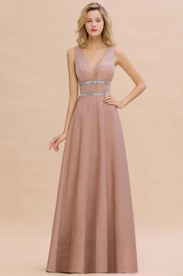 Sparkly Deep V-neck Long Evening Dresses with Shining Belt | Elegant Sleeveless V-back Pink Formal Dress_1
