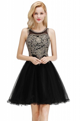 Cute Crew Neck Puffy Homecoming Dresses with Lace Appliques | Beaded Sleeveless Open back Black Teens Dress for Cocktail_4