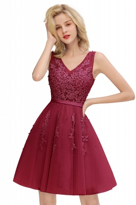 Sexy V-neck Lace-up Short Homecoming Dresses with Lace Appliques | Burgundy, Navy, Dusty pink Back to school Dress_3