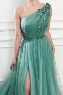 Sexy Front Slit Long One Shoulder Green Tulle Evening Dresses_2