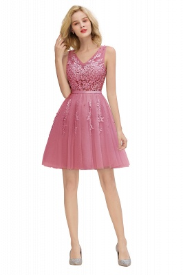 Sexy V-neck Lace-up Short Homecoming Dresses with Lace Appliques | Burgundy, Navy, Dusty pink Back to school Dress_25