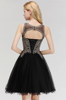 Cute Crew Neck Puffy Homecoming Dresses with Lace Appliques | Beaded Sleeveless Open back Black Teens Dress for Cocktail_10
