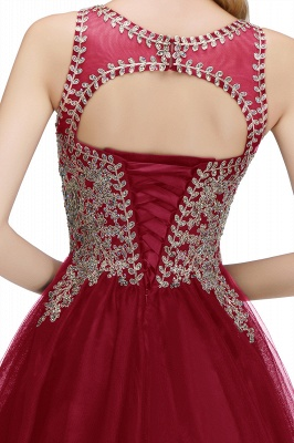 Cute Crew Neck Puffy Homecoming Dresses with Lace Appliques | Beaded Sleeveless Open back Black Teens Dress for Cocktail_27