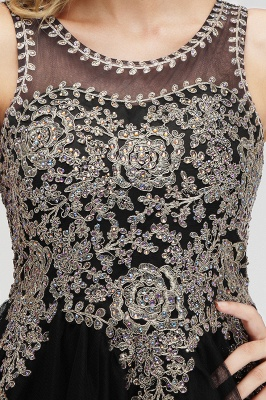 Cute Crew Neck Puffy Homecoming Dresses with Lace Appliques | Beaded Sleeveless Open back Black Teens Dress for Cocktail_17