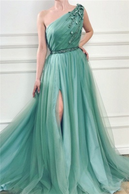 Sexy Front Slit Long One Shoulder Green Tulle Evening Dresses_1