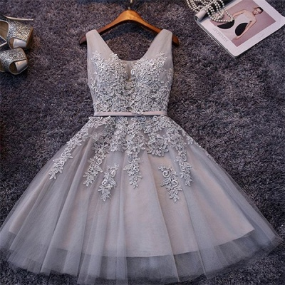 ADDILYNN | A-line Knee-length Tulle Prom Dress with Appliques_10
