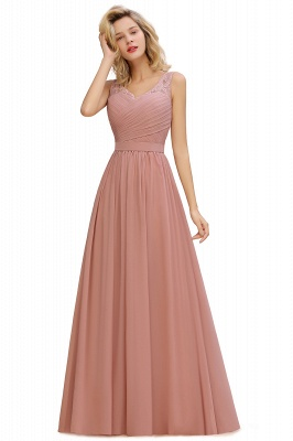 Beautiful V-neck Long Evening Dresses with soft Pleats | Sexy Sleeveless V-back Dusty Pink Womens Dress for Prom_2