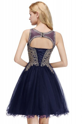 Cute Crew Neck Puffy Homecoming Dresses with Lace Appliques | Beaded Sleeveless Open back Black Teens Dress for Cocktail_23