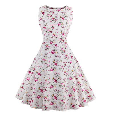 Glorious Jewel Sleeveless A-line Fashion Belted Dresses | Floral Knee-Length Women's Dress_1