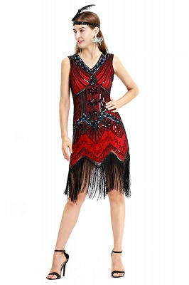 V-neck Sleeveless V-Black Short Cocktail Dresses  Burgundy  Emerald Silver Sequined Dress_21