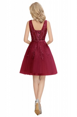 Sexy V-neck Lace-up Short Homecoming Dresses with Lace Appliques | Burgundy, Navy, Dusty pink Back to school Dress_19