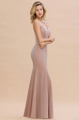 Sparkly Deep V-neck Long Evening Dresses | Elegant Flowers Neck Sleeveless Pink Floor-length Formal Dress_15