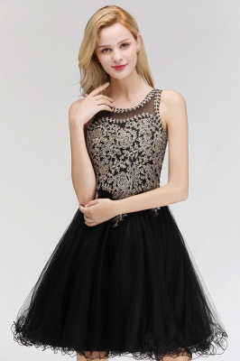 Cute Crew Neck Puffy Homecoming Dresses with Lace Appliques | Beaded Sleeveless Open back Black Teens Dress for Cocktail_12