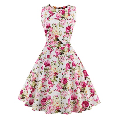 Glorious Jewel Sleeveless A-line Fashion Belted Dresses | Floral Knee-Length Women's Dress_4