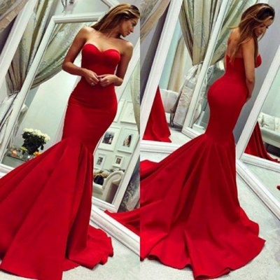 Sexy sweetheart mermaid Red prom dress with train_3