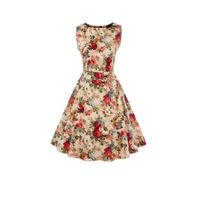 Glorious Jewel Sleeveless A-line Fashion Belted Dresses | Floral Knee-Length Women's Dress_5