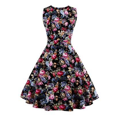 Glorious Jewel Sleeveless A-line Fashion Belted Dresses | Floral Knee-Length Women's Dress_2