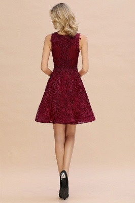 Princess V-neck Knee Length Lace Appliqued Homecoming Dresses | Burgundy Dress for Homecoming_9