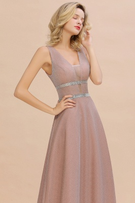 Sparkly Deep V-neck Long Evening Dresses with Shining Belt | Elegant Sleeveless V-back Pink Formal Dress_10