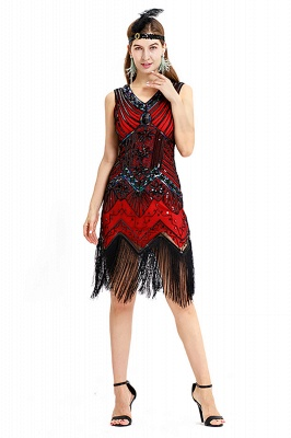 V-neck Sleeveless V-Black Short Cocktail Dresses  Burgundy  Emerald Silver Sequined Dress_18