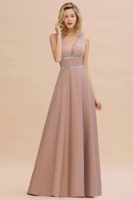 Sparkly Deep V-neck Long Evening Dresses with Shining Belt | Elegant Sleeveless V-back Pink Formal Dress_7