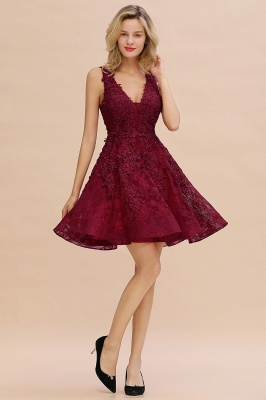 Princess V-neck Knee Length Lace Appliqued Homecoming Dresses | Burgundy Dress for Homecoming_19