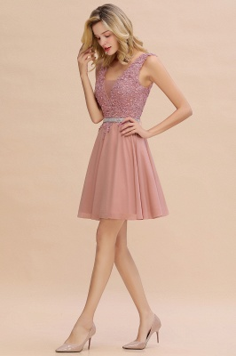 Cute Deep V-neck Short Sexy Sleeveless V-back Dusty Pink Knee length Womens Dress for Cocktail Party_11