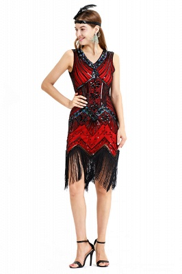 V-neck Sleeveless V-Black Short Cocktail Dresses  Burgundy  Emerald Silver Sequined Dress_19