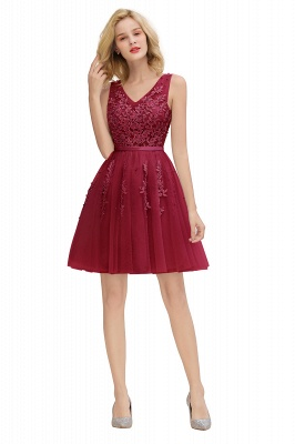 Sexy V-neck Lace-up Short Homecoming Dresses with Lace Appliques | Burgundy, Navy, Dusty pink Back to school Dress_26