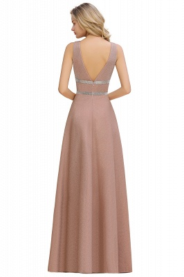 Sparkly Deep V-neck Long Evening Dresses with Shining Belt | Elegant Sleeveless V-back Pink Formal Dress_12