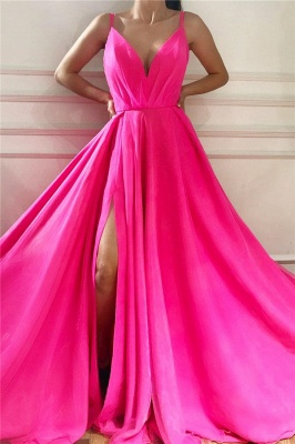 Sexy Affordable V Neck Sleeveless Long Pink Prom Dress