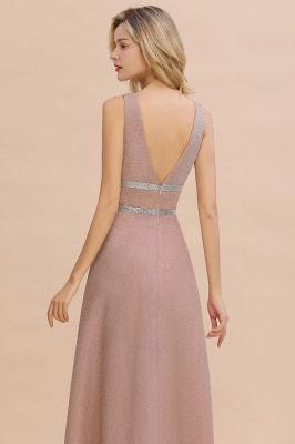 Sparkly Deep V-neck Long Evening Dresses with Shining Belt | Elegant Sleeveless V-back Pink Formal Dress_4