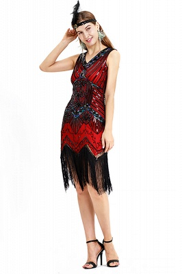 V-neck Sleeveless V-Black Short Cocktail Dresses  Burgundy  Emerald Silver Sequined Dress_20