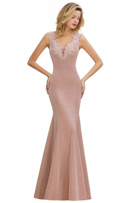Sparkly Deep V-neck Long Evening Dresses | Elegant Flowers Neck Sleeveless Pink Floor-length Formal Dress_10