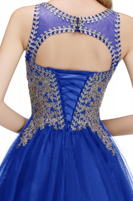 Cute Crew Neck Puffy Homecoming Dresses with Lace Appliques | Beaded Sleeveless Open back Black Teens Dress for Cocktail_16