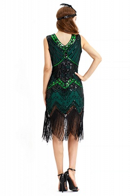 V-neck Sleeveless V-Black Short Cocktail Dresses  Burgundy  Emerald Silver Sequined Dress_22