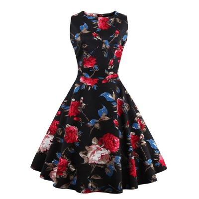 Glorious Jewel Sleeveless A-line Fashion Belted Dresses | Floral Knee-Length Women's Dress_7